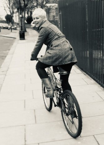 Katie on a bike for How I got Sober by Sobriety Films