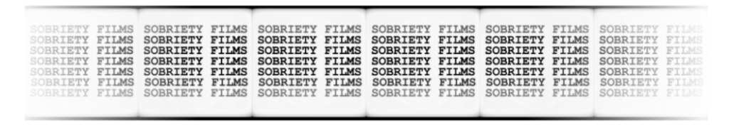 Logo for Sobriety Films fading at edges